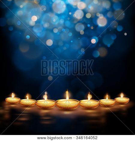 Happy Diwali Illustration Of Burning Diya. Holiday Background. Eps 10