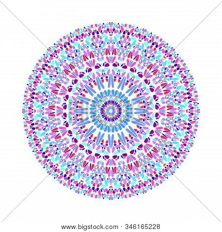 Abstract Round Colorful Flower Ornament Mandala - Ornate Geometrical Vector Illustration On White Ba