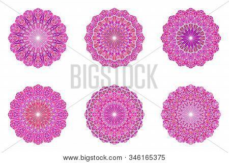 Round Colorful Triangle Mosaic Mandala Symbol Set - Ornamental Polygonal Vector Graphic Designs