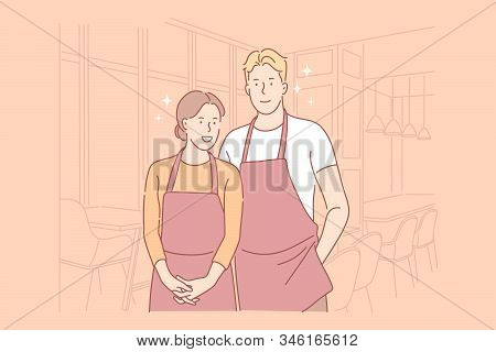 Catering Workers Concept. Waiter And Waitress Wearing Uniform With Aprons, Preparing Banquets, Servi