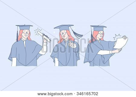 Education, Graduation, Success Set Concept. Young Successful Girl Has Just Finished Her Education Pr