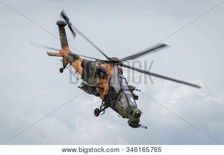 Hampshire, Uk - July, 2018: The Turkish Aerospace/agusta Westland T129 Atak Helicopter. July 18, 201