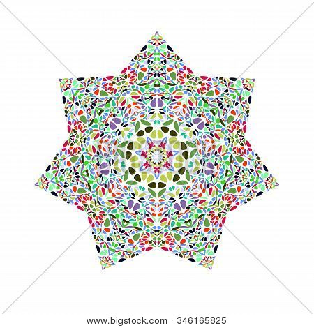 Isolated Abstract Floral Star Symbol - Colorful Geometrical Vector Design Element With Curved Shapes