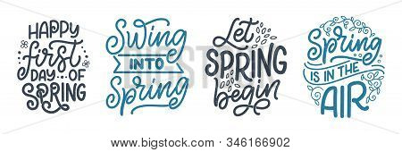 Set With Spring Time Lettering Greeting Cards. Fun Season Slogans. Typography Posters Or Banners For
