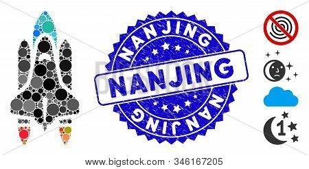 Mosaic Space Shuttle Icon And Grunge Stamp Watermark With Nanjing Phrase. Mosaic Vector Is Created W