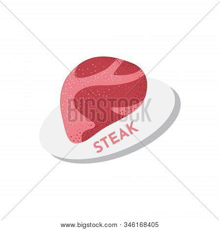 Raw Steak Meat Vector Icon. Beefsteak Textured Illustration In Cartoon Style Isolated On White.