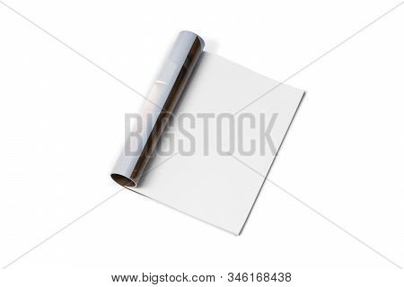 Mock-up Magazine, Newspaper Or Catalog Isolated On White Background. Blank Page For Mockups Or Simul