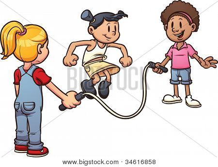 Cute cartoon girls playing with a jump rope. Vector illustration with simple gradients. All in a single layer.