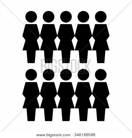 People Icon Vector Female Group Of Persons Symbol Avatar For Business Management Team In Flat Color
