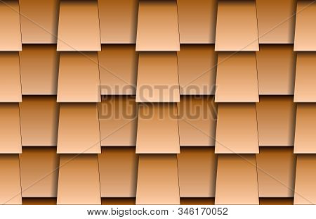 Seamless Texture Of Beige Shingles Rooftop Background. Repeating Pattern Of Trapeze Wooden Roof Tile
