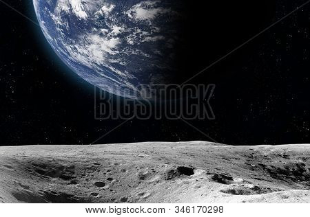 Moon Surface And Earth.