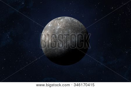 View Of Planet Mercury From Space. Space, Nebula And Planet Mercury. This Image Elements Furnished B
