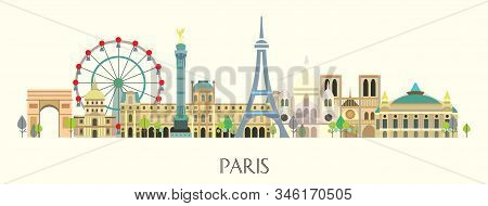 Panoramic Paris City Skyline. Colorful Isolated Vector Illustration On Beige Background. Vector Silh