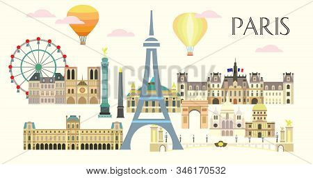 Paris City Skyline. Colorful Isolated Vector Illustration On Beige Background. Vector Illustration O