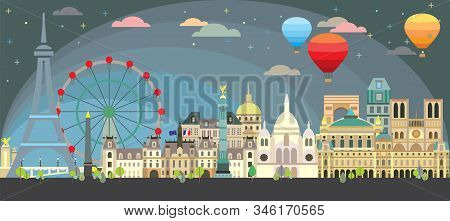 Paris City Skyline At Night. Colorful Isolated Vector Illustration. Vector Illustration Of Main Land
