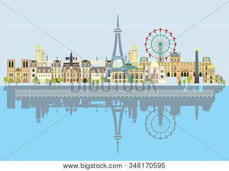 Paris City Skyline With Reflection In Water. Colorful Isolated Vector Illustration On Blue Backgroun