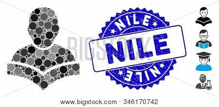 Collage Student Icon And Grunge Stamp Watermark With Nile Text. Mosaic Vector Is Designed With Stude