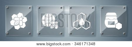 Set Jar Of Honey, Honeycomb, Honeycomb Map Of The World And Bee And Bee And Honeycomb. Square Glass