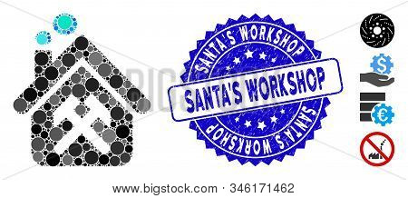 Mosaic Workshop Icon And Grunge Stamp Seal With Santas Workshop Text. Mosaic Vector Is Formed With W