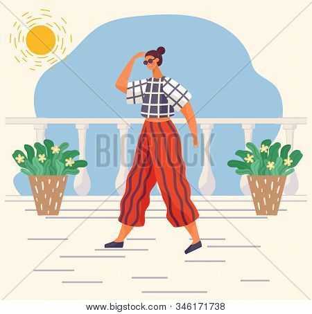 Woman Character Wearing Casual Clothes And Glasses Accessory Going At Home. Female In T-shirt And Tr