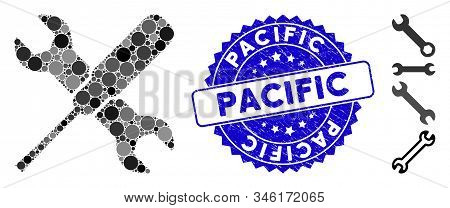 Mosaic Tools Icon And Grunge Stamp Seal With Pacific Caption. Mosaic Vector Is Created With Tools Pi