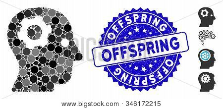 Mosaic Thinking Gear Icon And Rubber Stamp Seal With Offspring Text. Mosaic Vector Is Composed With