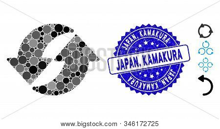 Mosaic Refresh Icon And Rubber Stamp Seal With Japan, Kamakura Caption. Mosaic Vector Is Created Wit