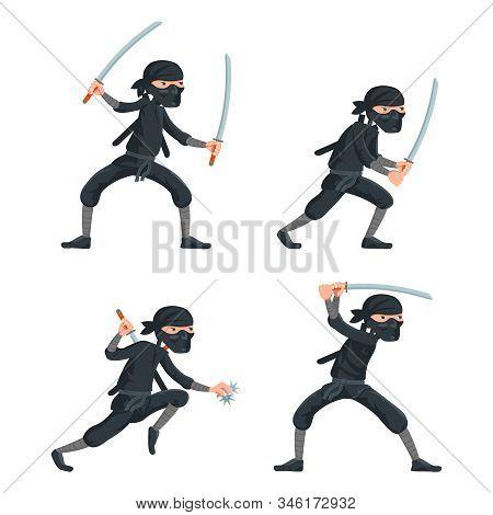 Ninja Japanese Secret Assassin Cartoon Characters Set Vector Illustration