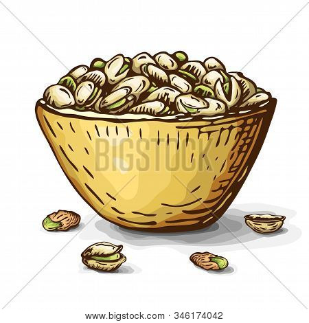Hand Drawn Illustration Of Pistachio Nuts In Bowl Isolated On White. Vector Engraved Nuts Drawing In