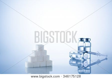 Diabetes, Insulin, High Blood Sugar, Hyperglycemia. Ampoules, Vials, Syringe. Medical Injection, Dis