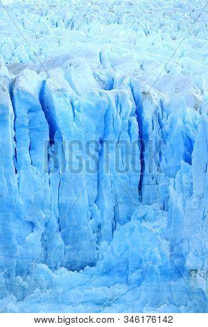 Amazing Texture Of Ice-blue Color Perito Moreno Glaciers, Los Glaciares National Park, El Calafate,
