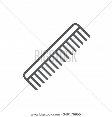 Comb Line Icon. Minimalist Black Icon Isolated On White Background. Comb Simple Silhouette. Web Site