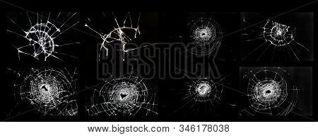 Broken Glass, Cracks, Bullet Marks On Glass. Set Of Illustrations For Design.