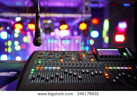 Dj Work At A Nightclub, Music Club Party, Concert Equipment, A Mixer And Dj Console. The Concept Of
