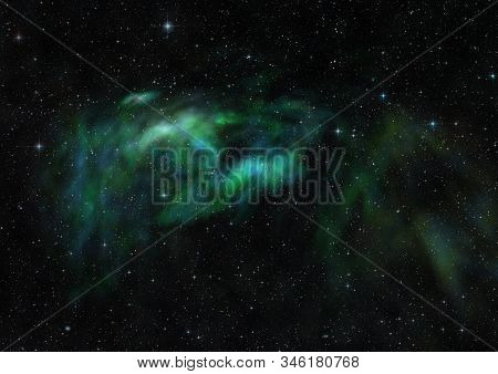 Far Being Shone Nebula And Star Field Against Space. Elements Of This Image Furnished By Nasa. 3d Re