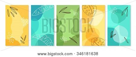 Creative Set Of Backgrounds With Liquid Abstract Geometric Shapes For Social Media Templates, Vibran