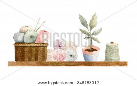 Hand Painted Watercolor Winter Cosy Composition - Brawn Basket With Yarn Balls (wool) With Needles A