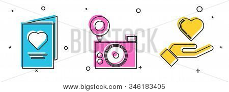 Set Valentines Day Party Flyer With Heart, Photo Camera And Heart On Hand Icon. Vector