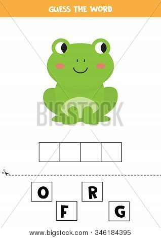 Guess The Word. Cute Cartoon Frog. Educational Matching Game For Kids.