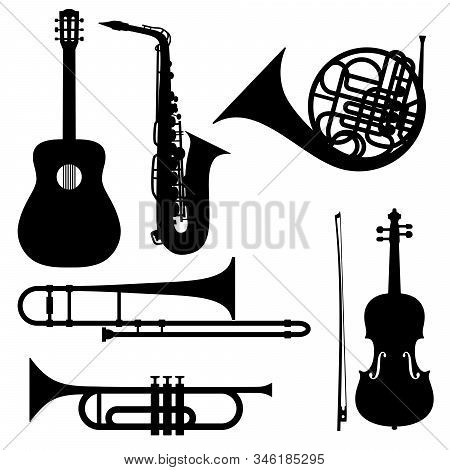Silhouettes Of Musical Instruments - Guitar, Saxophone, French Horn, Trombone, Trumpet And Violin. I