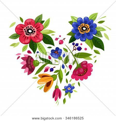 Beautiful Flower Heart. Heart From Flowers. T-shirt Design. Illustration For Valentines Day Card. Sy