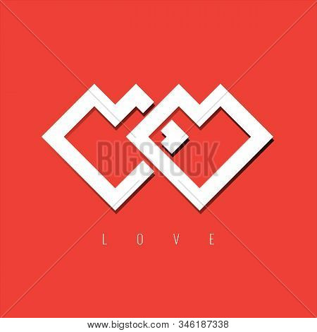 Interlaced Hearts Icon Or Symbol For Your Wedding Card Or Valentine Card Design. Vector Illustration