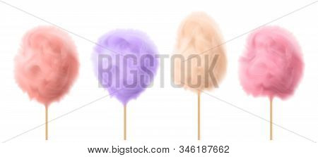 3d Realistic Cotton Candy On Wooden Sticks. Delicious Summer Food, Traditional Carnival Product. Tas