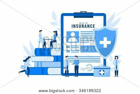 Health Insurance Vector Illustration Concept Isolated. Huge Health Insurance Form On Clipboard. Peop