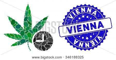Collage Weed Time Icon And Corroded Stamp Watermark With Vienna Text. Mosaic Vector Is Composed With