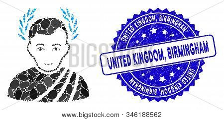 Mosaic Caesar Wreath Icon And Rubber Stamp Seal With United Kingdom, Birmingham Caption. Mosaic Vect