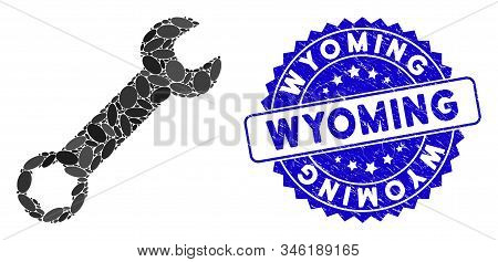 Mosaic Wrench Icon And Distressed Stamp Seal With Wyoming Caption. Mosaic Vector Is Composed With Wr