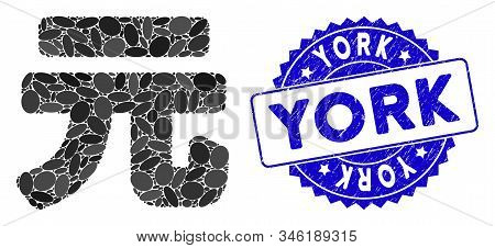 Mosaic Yuan Renminbi Icon And Rubber Stamp Seal With York Caption. Mosaic Vector Is Created With Yua