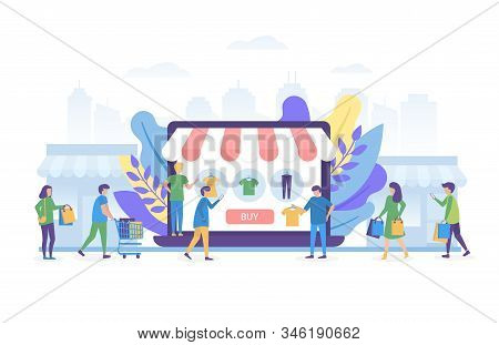 Online Shopping On Internet, Ecommerce And People Shop Online Vector Illustration Concept Isolated.