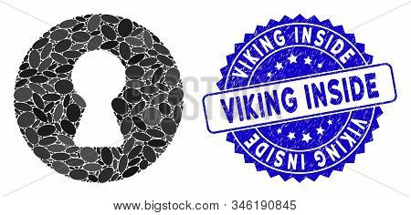 Mosaic Inside Icon And Corroded Stamp Watermark With Viking Inside Caption. Mosaic Vector Is Designe